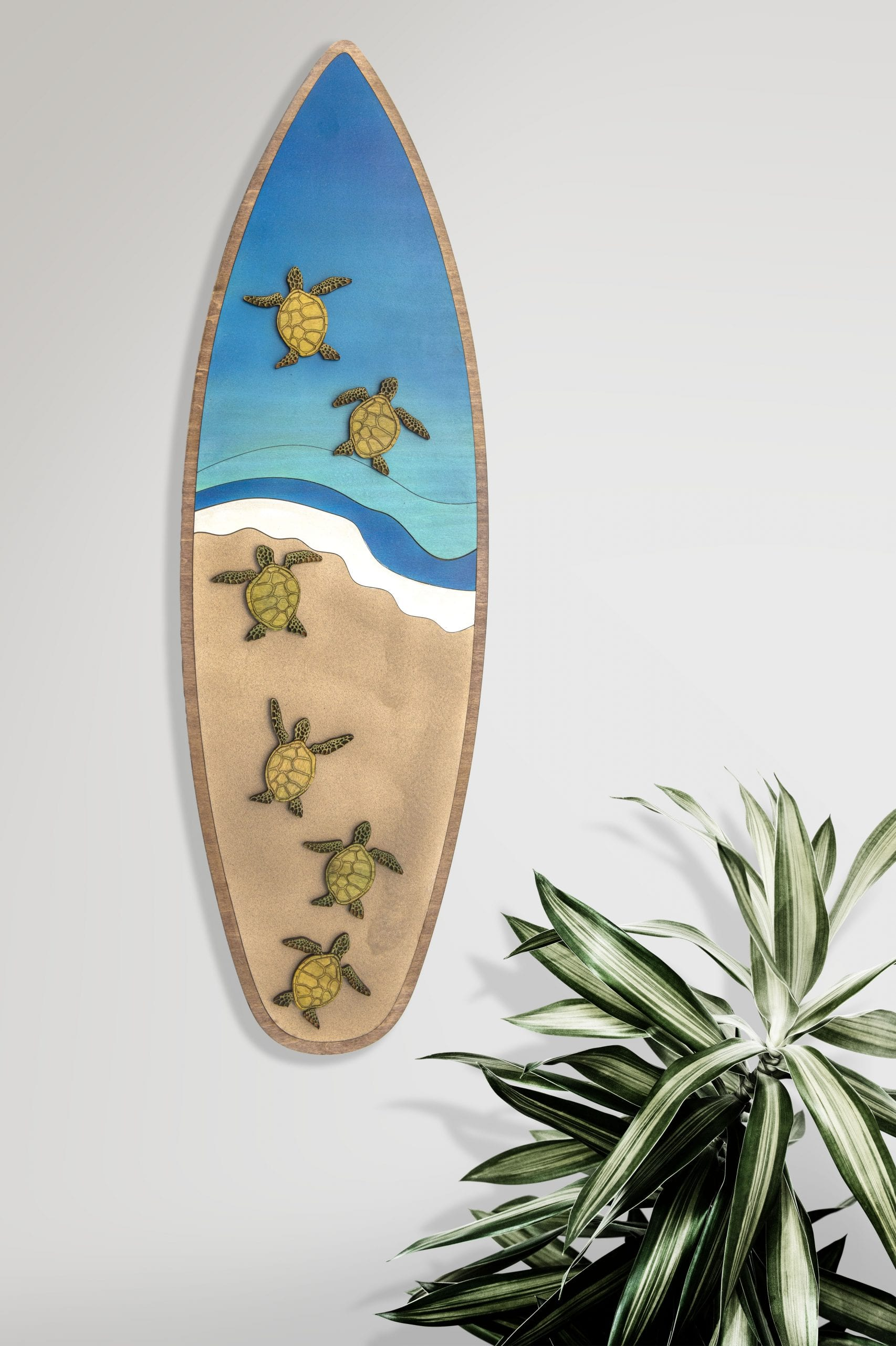 Large Turtle Surfboard on wall